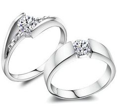 Gnzoe Men Engagement Rings CZ Wings Crown Rings Matching Ring 3mm//4mm Silver Price One Pc