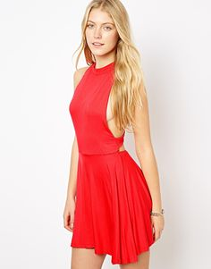 $37, Red Skater Dress: High Neck Skater Dress by Love. Sold by Asos. Click for more info: http://lookastic.com/women/shop_items/67075/redirect