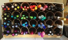 toliet paper rolls - http://www.janekoopman.com/1/post/2013/04/tubular-tutorial-create-a-craft-organization-station-with-recycled-toilet-paper-rolls.html