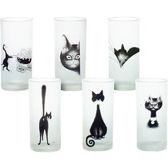 Glasses with the Cats from Albert Dubout (I have a mug with the proud cat mum with pram, and little milk jug with mother cat and 12 kittens!)