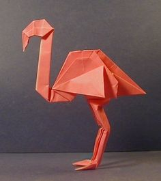 Flamingo - African Animals in Origami - The Unofficial John Montroll Homepage Origami Mouse, Origami Yoda, Origami Star Box, Origami And Kirigami, Origami Dragon, Origami Fish, Paper Crafts Origami, Origami Stars, Dollar Origami