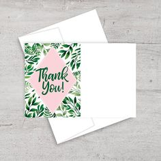 tropical bridal shower thank you card thank you note flora palm trees