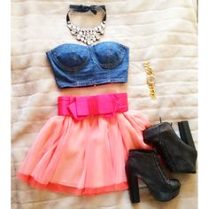 Tutu skirt croptop jeans outfit