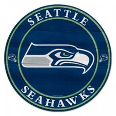 """19.75"""" Seattle Seahawks Team Round Wood Sign - Officially Licensed - Seattle Seahawks - NFL - Sports Flags - Product Type Flags A' Flying"""