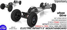 904e BLACK Infinity 9 Inch wheel Electric Mountainboard with Urban Motor Mount