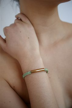 Bracelet tressé vert menthe - BOA bijoux- Printemps 2015 / Mint green braided - BOA bijoux - Spring 2015