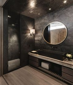 Room Decor Ideas Bathroom Ideas Luxury Bathroom Black Bathroom Design Luxury Interior Design 2 Room Decor Ideas Bathroom Ideas Luxury Bathroom Black B. Dark Bathrooms, Beautiful Bathrooms, Modern Bathroom, Stone Bathroom, Bathroom Black, Luxurious Bathrooms, Master Bathroom, Master Baths, Dark Wood Bathroom
