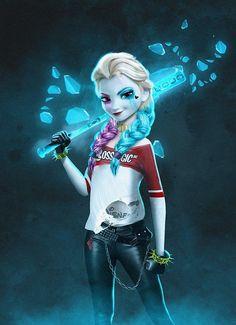 Arlequina e Rainha Elsa se tornam uma só em nova arte digital! - Legião dos Heróis