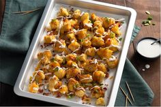 Fully Loaded Cauliflower Tots Cauliflower Tots, Loaded Cauliflower, Loaded Potato, Loaded Baked Potatoes, Easy Meal Prep, Easy Meals, Pub Food, Cooking Together, Cocktails