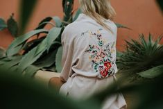 Le Voyage Kimono // The Flower in Dusty Pink Kaftan, Keep Your Cool, Dusty Pink, Mantel, Bomber Jacket, Cotton, Clothes, Collection, Pjs