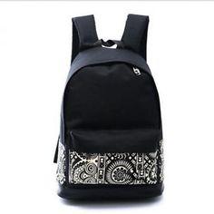 Damen Canvas Rucksack Tasche Schultertasche Schulrucksack Backpack Schwarz