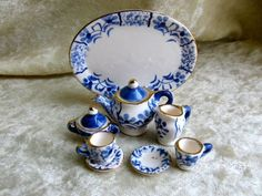 Miniature TEA SET FLORAL TRAY BLUE/WHITE w Blue Florals, Tray, Teapot w Lid, Sugar w Lid, Creamer, Two Teacups w Two Saucers.