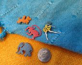 Metal fold over Pocket  Pins Elephant Monkey Scottie Dog Ballerina Vintage