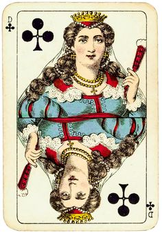 #PlayingCardsTop1000 - Rhineland pattern Dondorf ca 1890 - queen of clubs