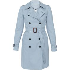 Weekend MaxMara Victor Light Blue Trench Coat ($745) ❤ liked on Polyvore featuring outerwear, coats, jackets, coats & jackets, casacos, blue, water resistant coat, cinch coats, weekend max mara coat and blue double breasted coat