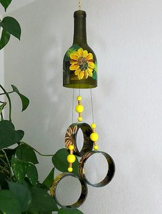 Recycled Wine Bottle Wind Chime, Sunflowers, Yard Art, Patio Decor, Yellow  Flowers