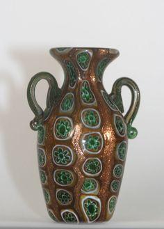 ITALIAN ART GLASS VASE BY FRATELLO TOSO MILLEFIORI 1900