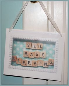 Shh Baby Sleeping Sign k. Scrabble Crafts, Scrabble Frame, Scrabble Art, Scrabble Tiles, Wooden Plaques, Wooden Signs, Door Plaques, Baby Sleeping Sign, Frame Crafts
