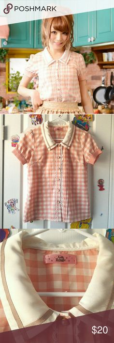 """Ank Rouge x Popteen Cafe peach gingham blouse I purchased this 2nd hand from Mercari JP,  wore it twice, and decided I didn't like the way it fit me.   It's in great condition! There are 3 small, but faint stains on the collar, but they are not noticeable (see pic 4). Does not come with the detachable bow from the original Popteen Cafe set.   Measurements 12.5"""" shoulders 35"""" bust & waist 23"""" length  gyaru, lolita, fashion, ank rouge, liz lisa, axes femme, himekaji, harajuku fashion, gingham…"""