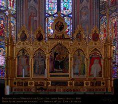 Cappella Maggiore - Basilica Santa Croce, Firenze - polittico dell'altare maggiore è  una ricomposizione: la Madonna al centro è di Niccolò Gerini (c. 1380), mentre i Dottori della Chiesa sono di Giovanni del Biondo e di un altro pittore sconosciuto.