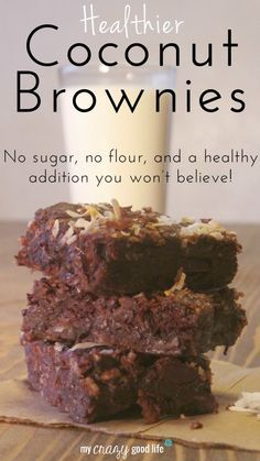 These coconut brownies have no flour, no sugar, and 14% of your daily fiber! SweetLeaf natural stevia sweetener replaces the sugar in this delicious treat.