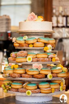 Wedding Cake with Doughnuts. A Rustic Wedding with a Unique Wedding Cake - A Must See! - Bridal Insider