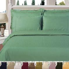 Stripe Sage Queen Bed in a bag Super Soft Comforter Set