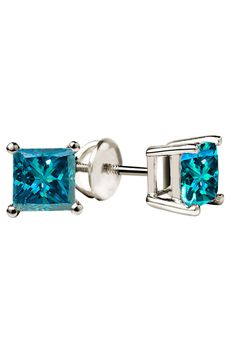 Blue Diamond Studs In 14K White Gold.