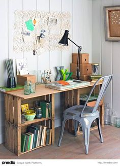 Wohnen build your own desk diy office wooden boxes plywood Water Pumps – All You Want To Know Articl Wooden Crate Furniture, Wood Crates, Diy Furniture, Furniture Design, Wooden Pallets, Wooden Boxes, Milk Crates, Unique Furniture, Crate Desk