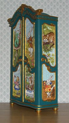 Dollhouse Miniature Hand Painted Alice in Wonderland Armoire Wardrobe 1 12 Hand Painted Furniture, Funky Furniture, Doll Furniture, Repurposed Furniture, Dollhouse Furniture, Kids Furniture, Furniture Makeover, Painting Furniture, Miniature Furniture