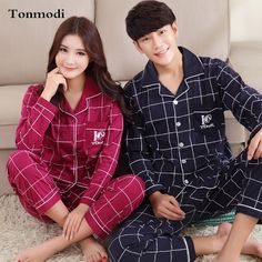 Couples Pajamas Women Lovers Sleepwear Spring Autumn 100% Cotton Pajama Set Pyjamas Men Sleep Lounge Womens Pajamas