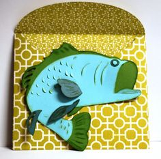 Check out this card Kristen made for the fisherman in your life!  A gift card fits perfect in his mouth!!  Perfect for Father's Day!!  From CLIFF'S CLUBHOUSE CARDS SVG KIT.