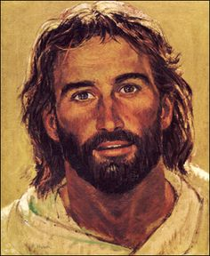 """""""Head of Christ"""" by Richard Hook. Not many paintings of Christ portray him as the rugged and strong carpenter that He was. Or as my high school campus minister lovingly calls this portrait, """"Teddy Bear Jesus"""" Pictures Of Jesus Christ, Jesus Painting, Painting Art, Jesus Face, Religious Art, Religious Pictures, Lds Pictures, Religious Education, Religious Icons"""