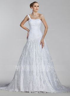 A-Line/Princess One-Shoulder Court Train Satin Lace Wedding Dress With Ruffle (002004516)