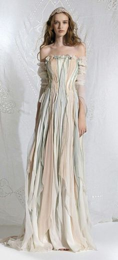 Ethereal Faerie Shabby Chic Handkerchief Hem Gown