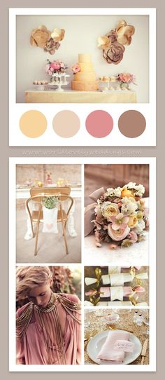 Neutrals - Pink, Beige and Brown. With little turquoise bluish.