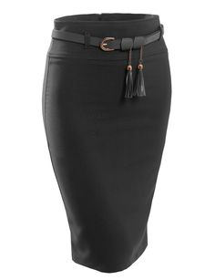 LE3NO Womens Fitted High Waisted Midi Skirt with Faux Leather Belt from LE3NO. Shop more products from LE3NO on Wanelo.