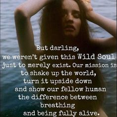 But Darling, we weren't given this Wild Soul just to merely exist. Our mission is to shake up the world, turn it upside down and show our fellow human the difference between breathing and being fully alive.