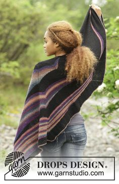 Colours in the Dark by DROPS Design. Gorgeous shawl with short rows and stripes. Free  knitting pattern