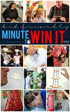 approved Minute to Win It game ideas. These kid-friendly games will make family game night the ultimate party. Two to one hundred players, ages zero to whatever!Family approved Minute to Win It game ideas. These kid-friendly game. Family Party Games, Family Reunion Games, Adult Party Games, Birthday Party Games, Adult Games, 25th Birthday, Spy Party, Party Games For Adults, Dinner Party Games