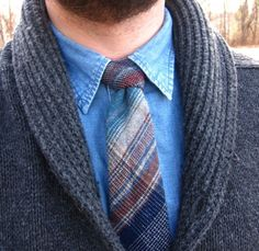 Vintage denim shirt; vintage plaid wool tie; charcoal shawl cardigan