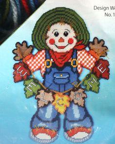 "14"" x 19"" Welcome Scarecrow Plastic Canvas Kit Door Wall Decor Design Works Fall #DesignWorks"