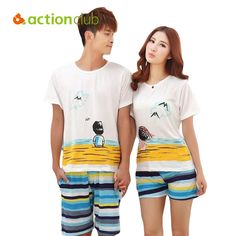 ea99525fd7 Wholesale Pajamas Set Women Summer Lovers Sleepwear Cotton Cartoon Pijamas  Men Shorts Women s Lounge Couple Pajama Set Plus Size M-XXL Online From  China