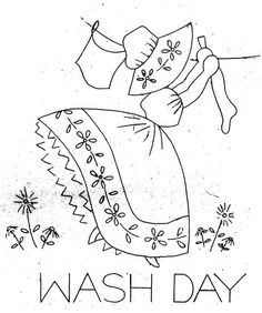 Hand Embroidery Pattern 124 Old Sunbonnet Colonial Girl for Tea Towels