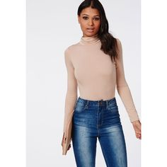 Missguided Long Sleeve Turtle Neck Bodysuit ($24) ❤ liked on Polyvore featuring intimates, shapewear and nude