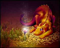 cute dragon and magic flower