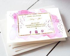 Pink Watercolour Makeup Artist Business card.