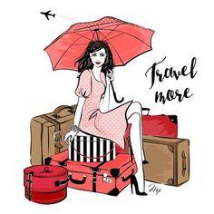 Travel girl illustration s : lil illus travel illustration, Travel Illustration, Illustration Girl, Illustration Fashion, Airplane Drawing, Buch Design, Travel Drawing, Packing Tips For Travel, Travel Bag, Travel Scrapbook