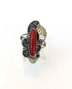Vintage Coral Sterling Silver Ring Navajo by AntiqueJewelryForFun