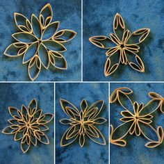 Toilet paper roll snowflakes before paint - Quilling Paper Crafts Toilet Roll Craft, Toilet Paper Roll Art, Quilling Paper Craft, Toilet Paper Roll Crafts, Diy Christmas Snowflakes, Christmas Ornament Crafts, Holiday Crafts, Christmas Crafts, Christmas Decorations
